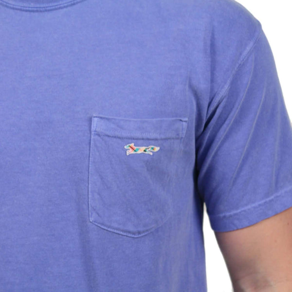 Longshanks Sewn Patch Short Sleeve Pocket Tee in Flo Blue by Country Club Prep
