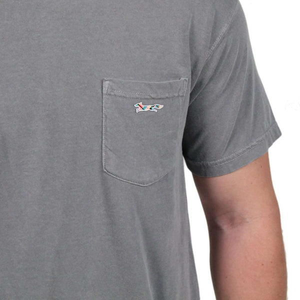 Longshanks Sewn Patch Short Sleeve Pocket Tee in Graphite by Country Club Prep