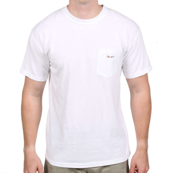 Men's Tee Shirts - Longshanks Sewn Patch Short Sleeve Pocket Tee In White By Country Club Prep