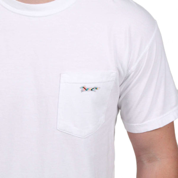 Longshanks Sewn Patch Short Sleeve Pocket Tee in White by Country Club Prep