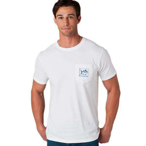 Men's Tee Shirts - Louisiana State University Collegiate Flag Tee Shirt In White By Southern Tide