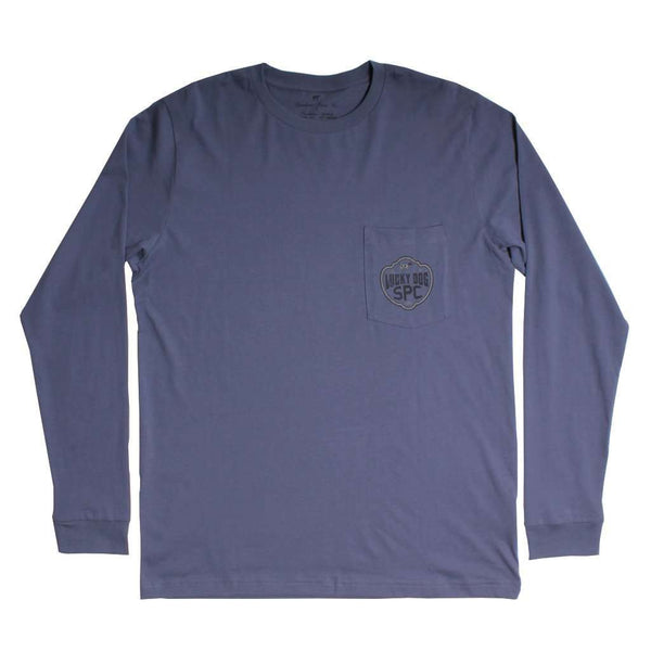 Lucky Dog Trademark Long Sleeve Tee in Slate by Southern Point - FINAL SALE
