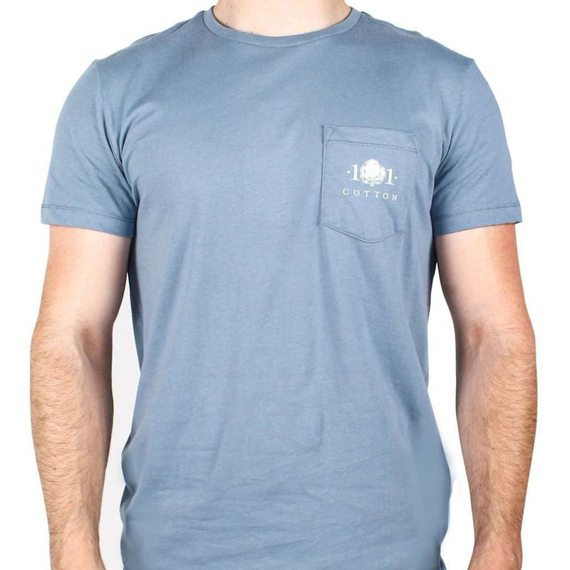 Men's Tee Shirts - Lure Pocket Tee In Silver Blue By Cotton 101 - FINAL SALE