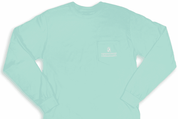 "Men's Tee Shirts - ""Made In The South"" Long Sleeve Pocket Tee In Aqua By High Cotton - FINAL SALE"