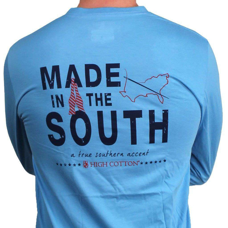 "Men's Tee Shirts - ""Made In The South"" Long Sleeve Pocket Tee In Harbor Blue By High Cotton-Large"