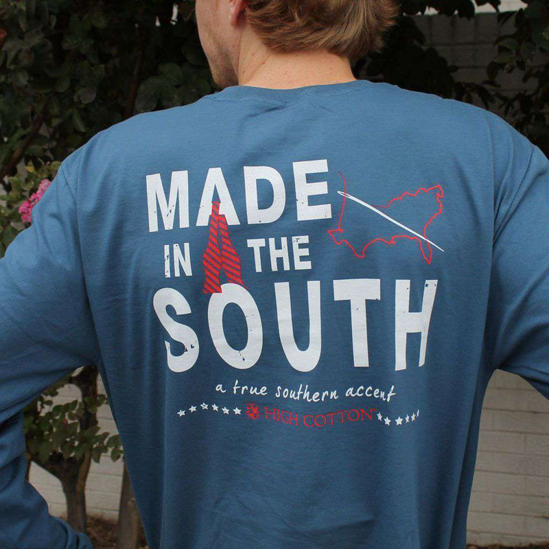 "Men's Tee Shirts - ""Made In The South"" Long Sleeve Pocket Tee In Navy By High Cotton"