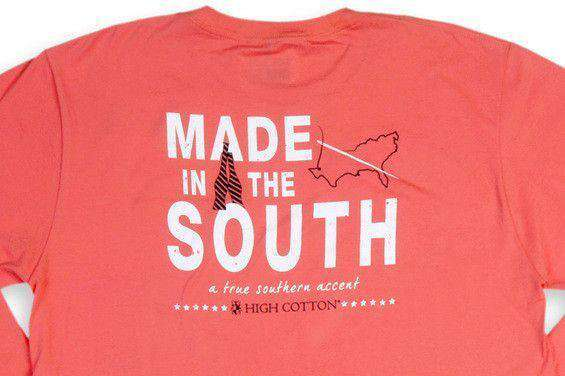 "Men's Tee Shirts - ""Made In The South"" Long Sleeve Pocket Tee In Sunset Red By High Cotton - FINAL SALE"