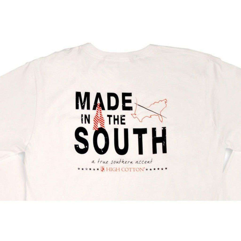 "Men's Tee Shirts - ""Made In The South"" Long Sleeve Pocket Tee In White By High Cotton"