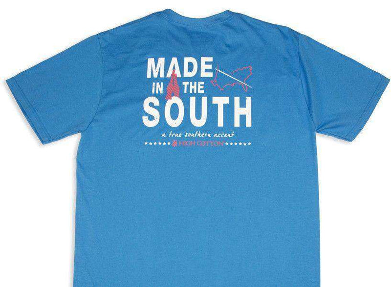 "Men's Tee Shirts - ""Made In The South"" Pocket Tee In Boardwalk Blue By High Cotton"