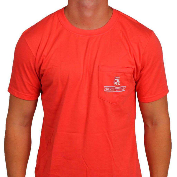 "Men's Tee Shirts - ""Made In The South"" Pocket Tee In Coral Red By High Cotton"