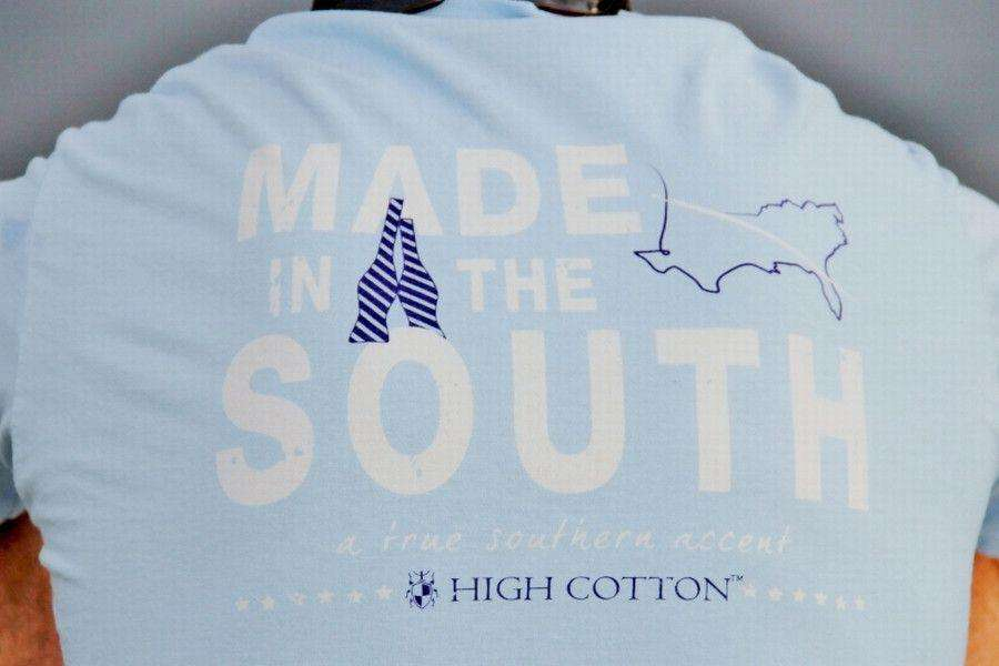 "Men's Tee Shirts - ""Made In The South"" Pocket Tee In Light Blue By High Cotton"