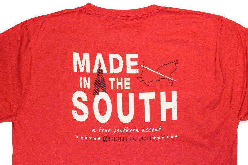 "Men's Tee Shirts - ""Made In The South"" Pocket Tee In Red By High Cotton"