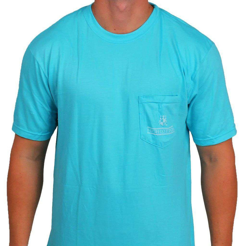 "Men's Tee Shirts - ""Made In The South"" Pocket Tee In Turquoise By High Cotton"