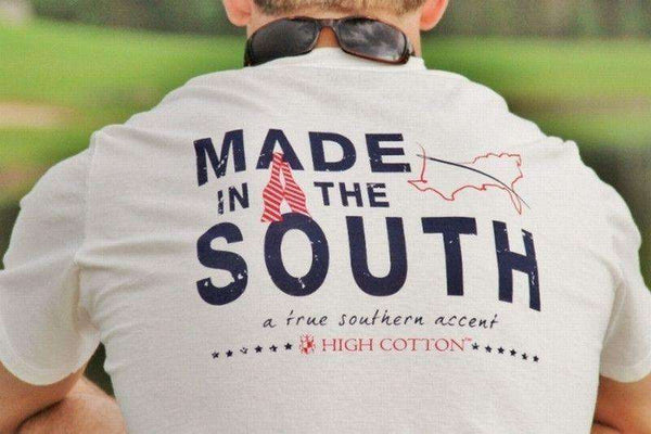 "Men's Tee Shirts - ""Made In The South"" Pocket Tee In White By High Cotton"