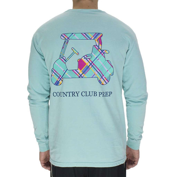 Men's Tee Shirts - Madras Golf Cart Long Sleeve Tee In Chalky Mint By Country Club Prep