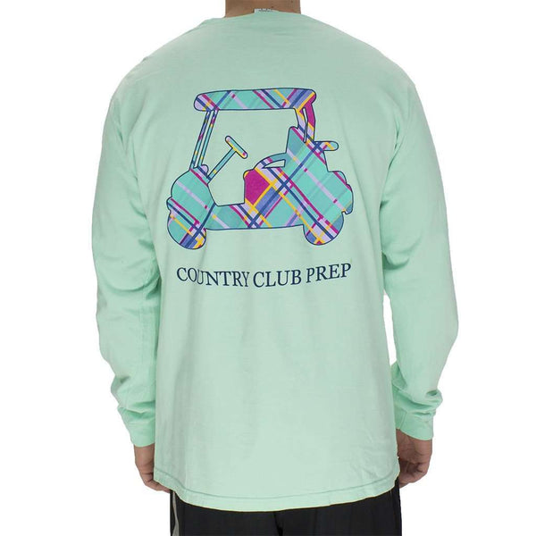 Men's Tee Shirts - Madras Golf Cart Long Sleeve Tee In Island Reef By Country Club Prep