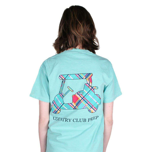 Men's Tee Shirts - Madras Golf Cart Tee Shirt In Chalky Mint By Country Club Prep