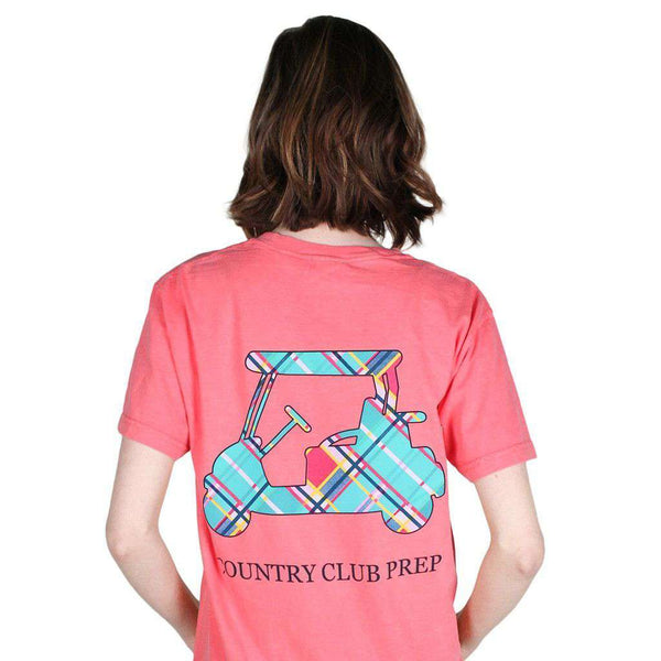 Men's Tee Shirts - Madras Golf Cart Tee Shirt In Watermelon By Country Club Prep