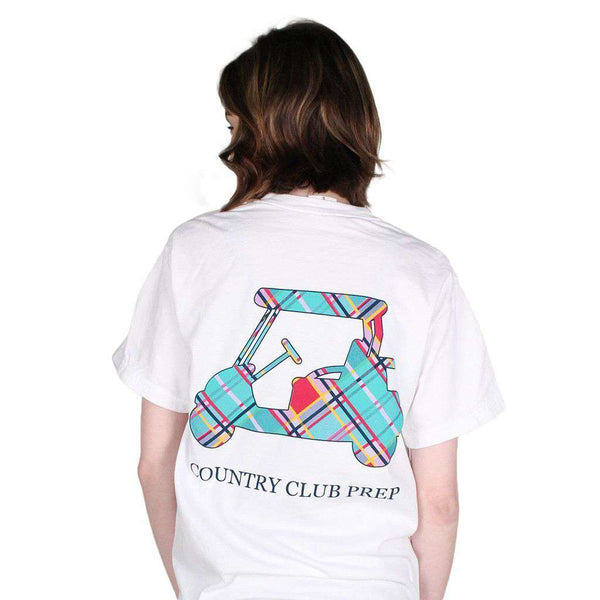 Madras Golf Cart Tee Shirt in White by Country Club Prep - FINAL SALE