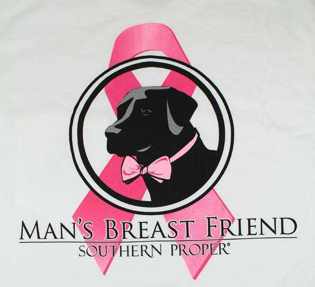 Men's Tee Shirts - Man's Breast Friend Tee In White By Southern Proper - FINAL SALE