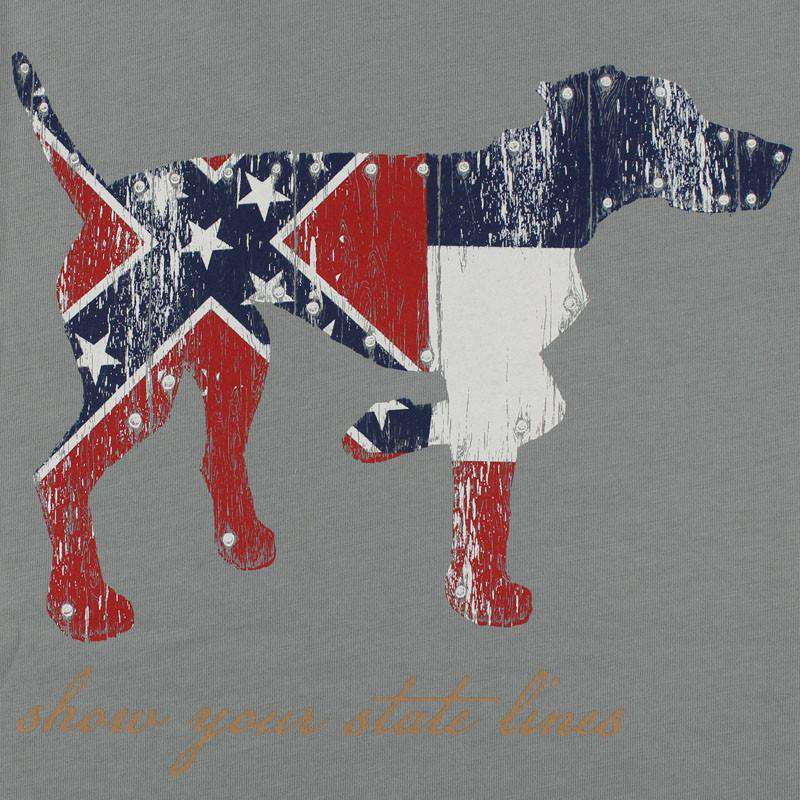 Men's Tee Shirts - Mississippi SPC State Line Tee In Grey By Southern Point Co.