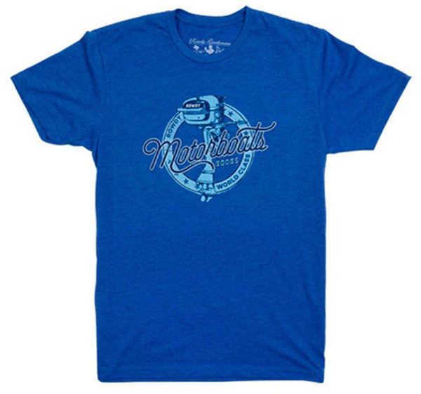 Men's Tee Shirts - Motorboats Vintage Tee In Blue By Rowdy Gentleman - FINAL SALE