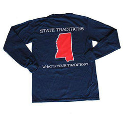 Men's Tee Shirts - MS Oxford Gameday Long Sleeve T-Shirt In Navy By State Traditions