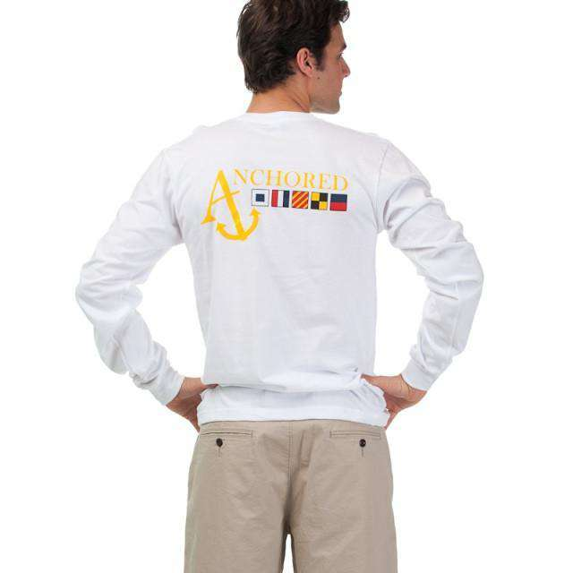 Men's Tee Shirts - Nautical Flag Long Sleeve Tee Shirt In White By Anchored Style