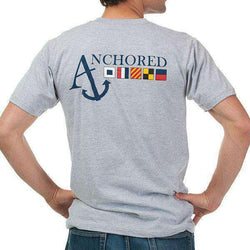 Men's Tee Shirts - Nautical Flag Pocket Tee Shirt In Grey By Anchored Style - FINAL SALE