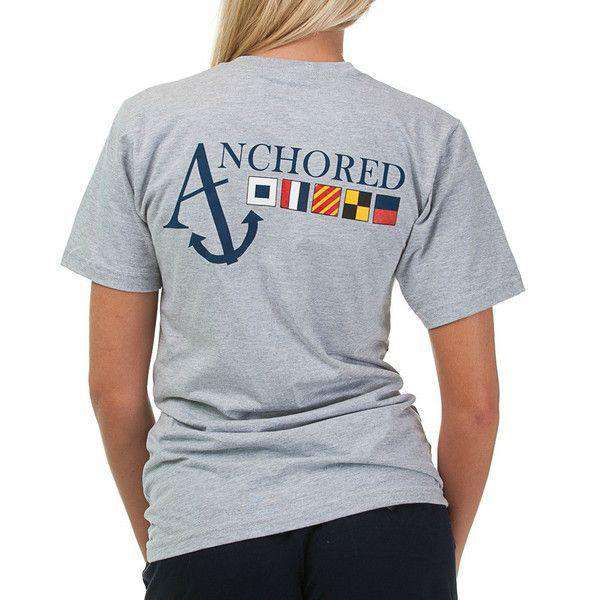 Nautical Flag Pocket Tee Shirt in Grey by Anchored Style - FINAL SALE