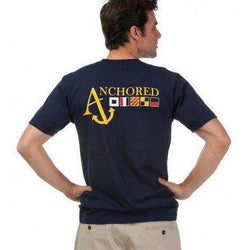 Men's Tee Shirts - Nautical Flag Tee Shirt In Navy By Anchored Style - FINAL SALE