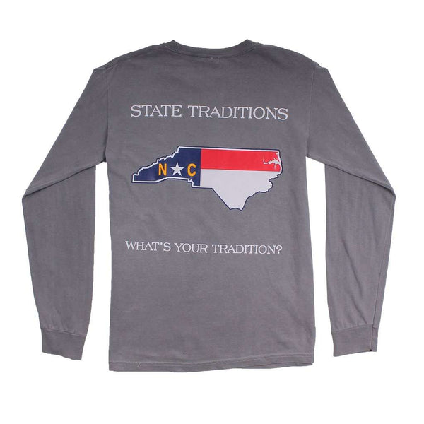 Men's Tee Shirts - NC Traditional Long Sleeve T-Shirt In Grey By State Traditions