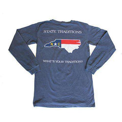 Men's Tee Shirts - NC Traditional Long Sleeve T-Shirt In Navy By State Traditions