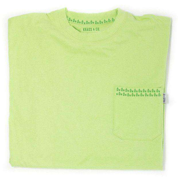 Men's Tee Shirts - No Chaser Pocket Tee Shirt In Neon Green By Krass & Co. - FINAL SALE
