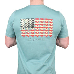 Men's Tee Shirts - North Carolina SPC State Lines Tee In Ocean Green By Southern Point Co.