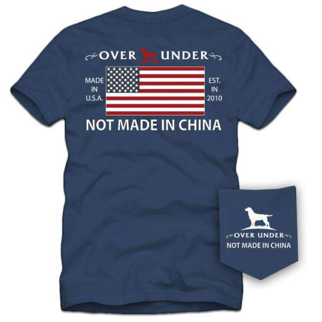 Men's Tee Shirts - Not Made In China Tee In Navy By Over Under Clothing