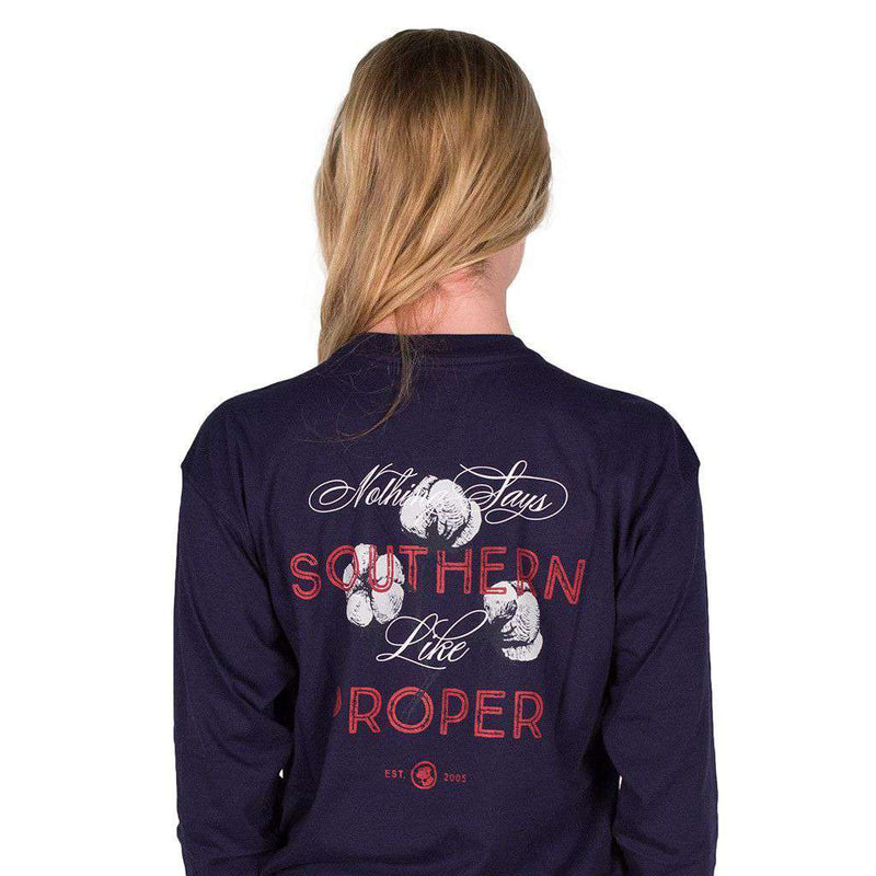 Men's Tee Shirts - Nothing Says Southern (Like Southern Proper) Long Sleeve Tee In Navy By Southern Proper