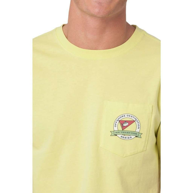 Men's Tee Shirts - Offshore Destination Pocket Tee Shirt In Tropical Lime By Southern Tide