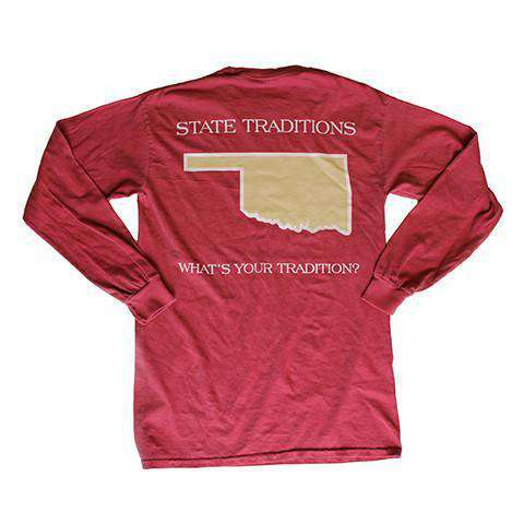 Men's Tee Shirts - OK Norman Long Sleeve T-Shirt In Crimson By State Traditions