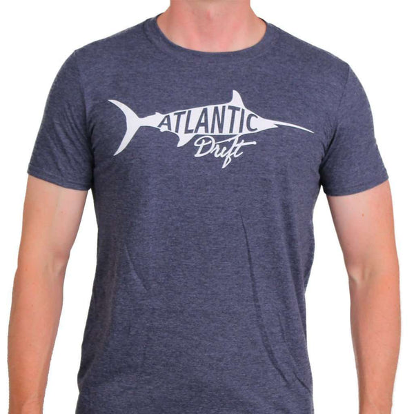 Men's Tee Shirts - Old Blue Vintage Tee In Heather Navy By Atlantic Drift - FINAL SALE