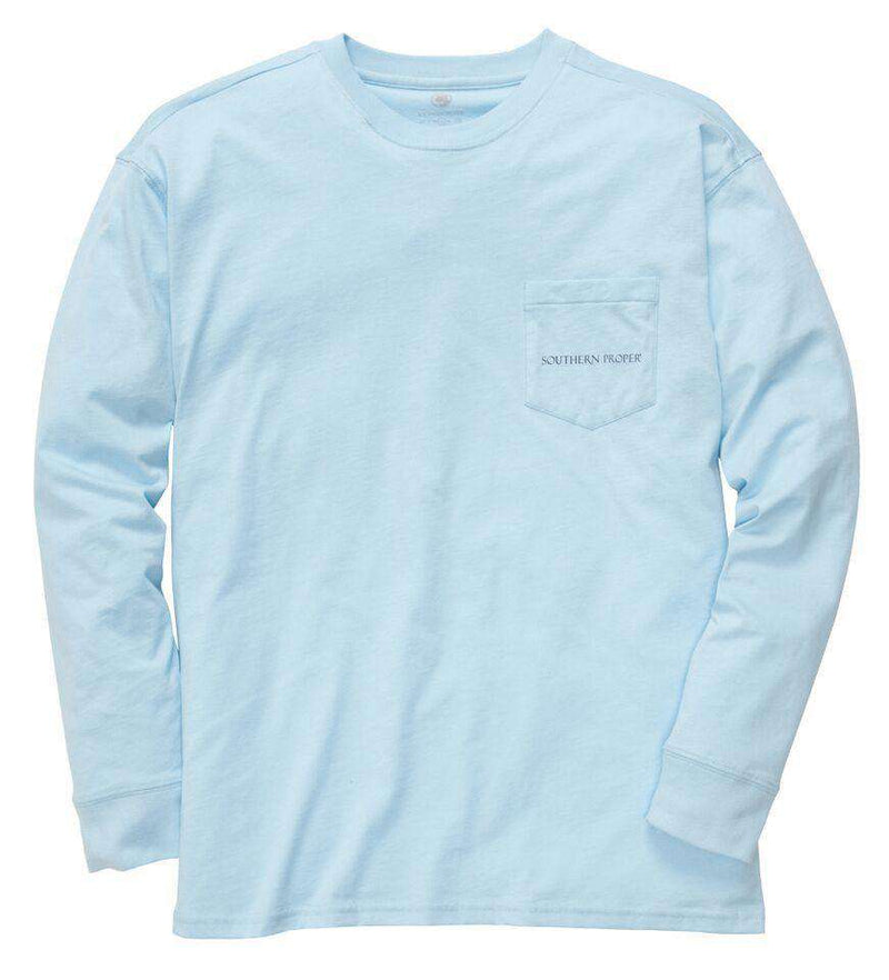 Men's Tee Shirts - Old Man River Long Sleeve Tee In Sky Blue By Southern Proper