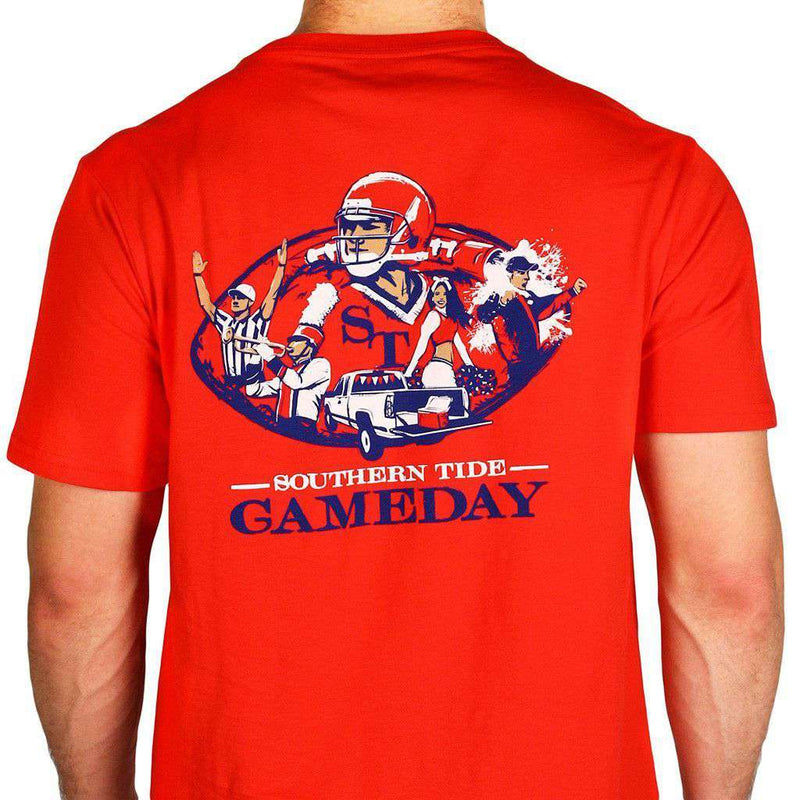 Men's Tee Shirts - Ole Miss Gameday Tee In Varsity Red By Southern Tide
