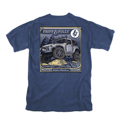 Men's Tee Shirts - On The Rocks Tee In Navy By Fripp & Folly