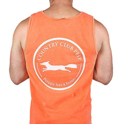 Men's Tee Shirts - Original Logo Tank Top In Neon Coral By Country Club Prep - FINAL SALE
