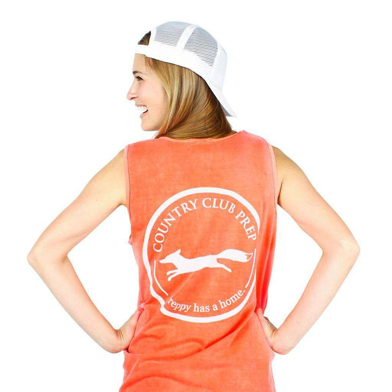 Original Logo Tank Top in Neon Coral by Country Club Prep - FINAL SALE