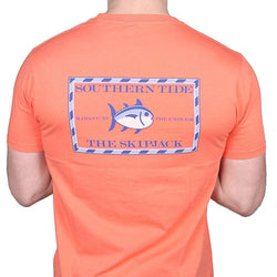 Men's Tee Shirts - Original Skipjack Tee Shirt In Coral Beach By Southern Tide