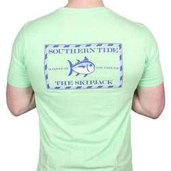 Men's Tee Shirts - Original Skipjack Tee Shirt In Lime By Southern Tide