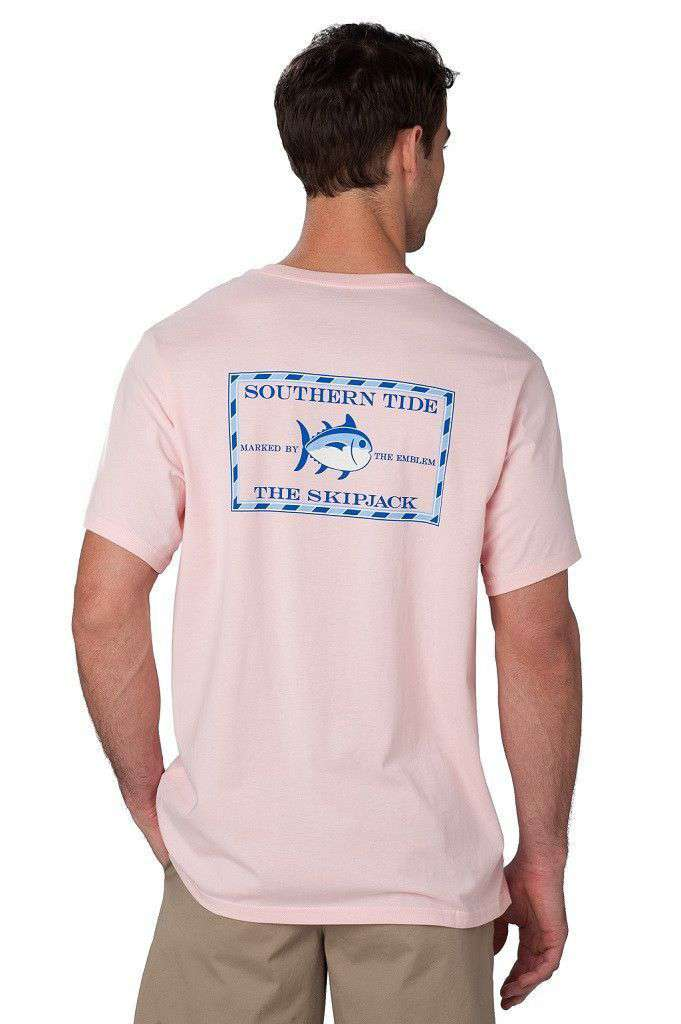 Men's Tee Shirts - Original Skipjack Tee Shirt In Pink By Southern Tide