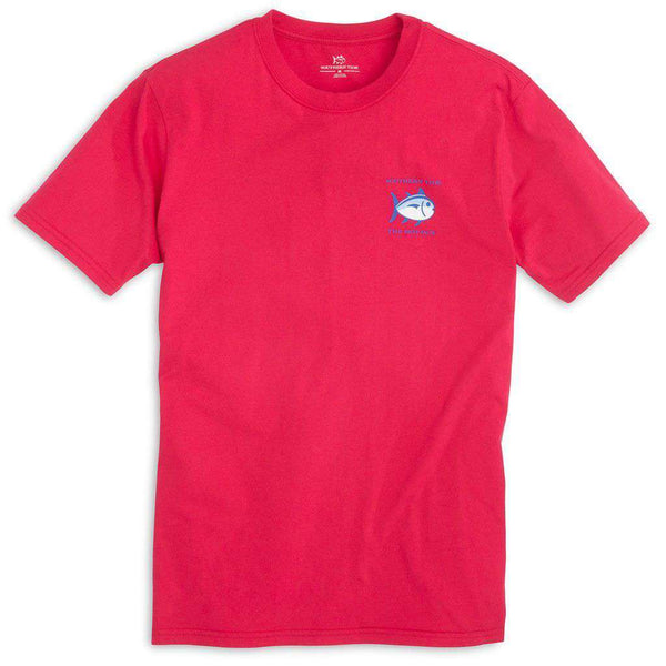 Men's Tee Shirts - Original Skipjack Tee Shirt In Port Side Red By Southern Tide