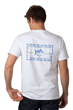 Men's Tee Shirts - Original Skipjack Tee Shirt In White By Southern Tide